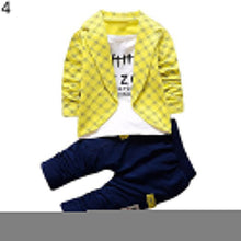 Load image into Gallery viewer, Baby Kid Boys Fashion Outfit Set Plaid Fake Two Piece Long Sleeve Top + Trousers - shopbabyitems