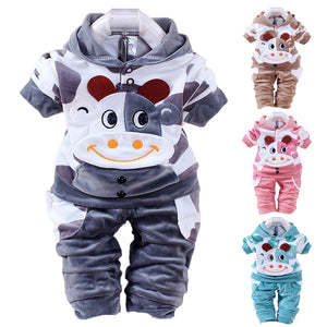 Lovely Baby Boys Girls Cow Pattern Coat + Long Pants Two-piece Dress Outfits - shopbabyitems