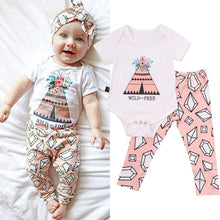 Load image into Gallery viewer, Newborn Baby Girl Flower Triangular Pattern Romper + Long Pants Outfit Clothes - shopbabyitems