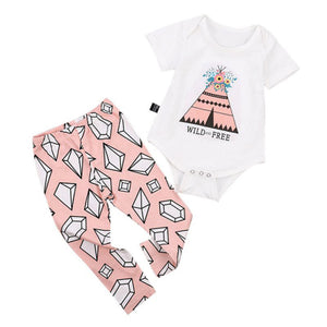 Newborn Baby Girl Flower Triangular Pattern Romper + Long Pants Outfit Clothes - shopbabyitems