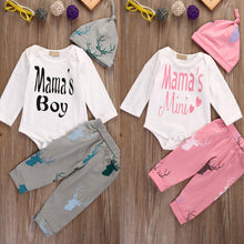 Load image into Gallery viewer, 3Pcs Newborn Baby Boys Girls Letters Romper Deer Pants Beanie Outfit Clothes Set - shopbabyitems