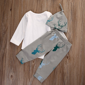 3Pcs Newborn Baby Boys Girls Letters Romper Deer Pants Beanie Outfit Clothes Set - shopbabyitems