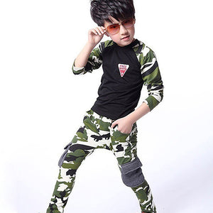 Kids Boys Girls Spring Autumn Camouflage Long Sleeve T-shirt Long Pants Clothing Set - shopbabyitems