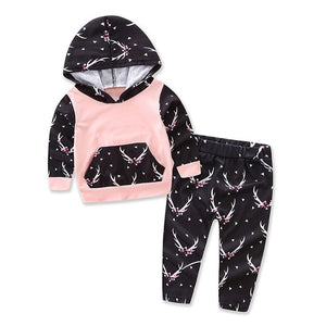 Newborn Baby Infant Kid Girl Antler Pattern Hoodie + Pants Outfit Clothes Set - shopbabyitems