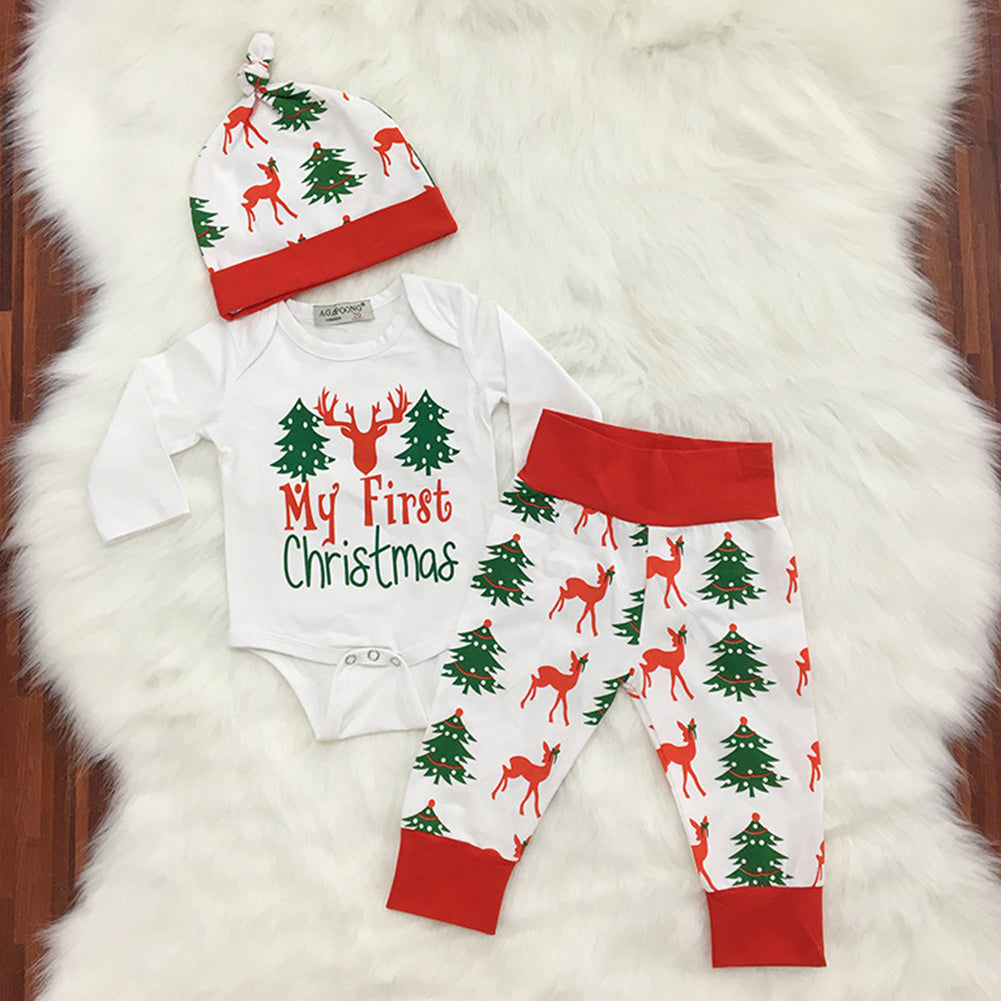 Newborn Baby Christmas Tree Deer Letters Print Romper Long Pants Cap Outfits - shopbabyitems