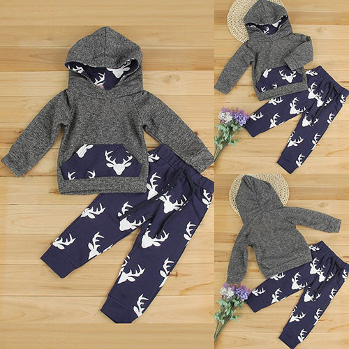 2Pcs Toddler Kids Boy Girl Clothes Set Elk Hooded T-Shirt Top + Pants Outfits - shopbabyitems