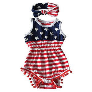 Newborn Baby Girl American Flag Romper 4th of July Bodysuit + Headband Outfit Set - shopbabyitems