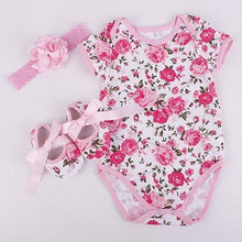 Load image into Gallery viewer, Cute Infant Baby Girl Toddler Floral Flower Print Romper Shoes Headband Outfit - shopbabyitems