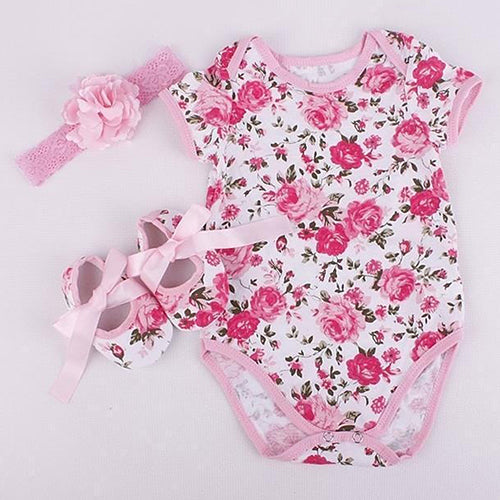 Cute Infant Baby Girl Toddler Floral Flower Print Romper Shoes Headband Outfit - shopbabyitems