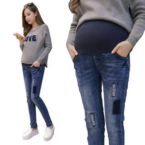 Elastic Waist Hole Stretch Denim Maternity Belly Jeans Autumn Spring Pants Clothes for Pregnant Women Pregnancy Pencil Trousers - shopbabyitems