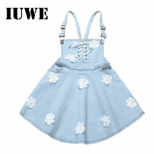 Baby Girls Dress Denim Strap Flowers Sewes Shoulderless A-Line Dress Casual Children Clothing Kids Girl  For 6 12 - shopbabyitems