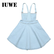 Load image into Gallery viewer, Baby Girls Dress Denim Strap Flowers Sewes Shoulderless A-Line Dress Casual Children Clothing Kids Girl  For 6 12 - shopbabyitems