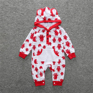 Cute Bear Ear Hooded Baby Rompers For Babies Boys Girls Clothes Newborn Clothing Jumpsuit Infant Costume Baby Outfit KS-032 - shopbabyitems