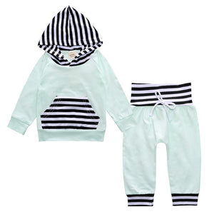 Baby Clothing Boy Girl Sport Set Striped Newborn Infant Baby Print Hoodie Tops Pants 2Pcs Outfit for Kids KS-050 - shopbabyitems