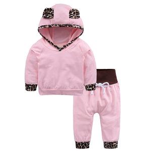 Cartoon Baby Clothing Set Long Sleeve Hooded Leopard Tops Pants Outfits Newborn Boy Girl Clothes Set KS-081 - shopbabyitems
