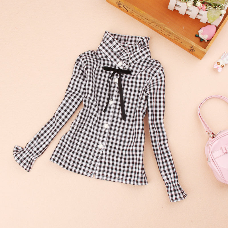 Baby kids girls long sleeve shirt plaids Cotton School blouses Autumn Long sleeve Mandarin Collar tops Casual Children clothing - shopbabyitems