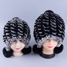 Load image into Gallery viewer, matching mother daughter hats real fur knitted Rabbit Hats 2pieces set Winter Genuine Natural Fur beanies ball caps LQ11261 - shopbabyitems