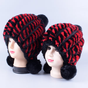 matching mother daughter hats real fur knitted Rabbit Hats 2pieces set Winter Genuine Natural Fur beanies ball caps LQ11261 - shopbabyitems