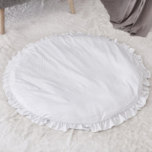 Load image into Gallery viewer, Solid Color Ruffle Rim Round Crawling Mat Baby Playing Floor Cushion Pad Decor - shopbabyitems