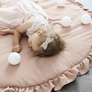 Solid Color Ruffle Rim Round Crawling Mat Baby Playing Floor Cushion Pad Decor - shopbabyitems