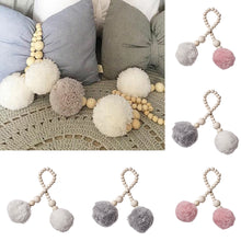 Load image into Gallery viewer, Baby Room Wooden Beads Pompom Hanging Decor Nordic Style Photography Wall Prop - shopbabyitems