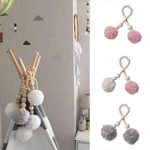 Baby Room Wooden Beads Pompom Hanging Decor Nordic Style Photography Wall Prop - shopbabyitems