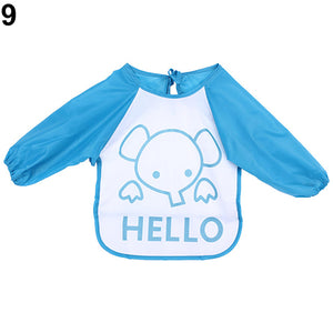 Baby Toddler Waterproof Cute Long Sleeve Bibs Children Feeding Smock Apron - shopbabyitems