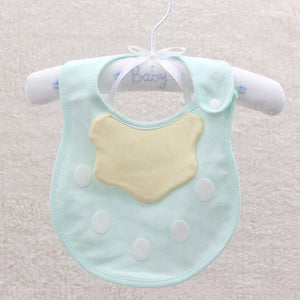 Newborn Infant Baby Feeding Bib Dots Soft Cotton Double Layer Snap On Towel - shopbabyitems