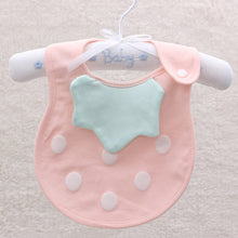 Load image into Gallery viewer, Newborn Infant Baby Feeding Bib Dots Soft Cotton Double Layer Snap On Towel - shopbabyitems