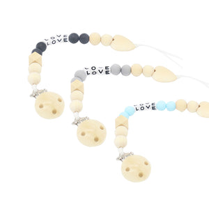 Infant Baby Wooden Beaded Pacifier Holder Clip Nipple Teether Dummy Strap Chain - shopbabyitems