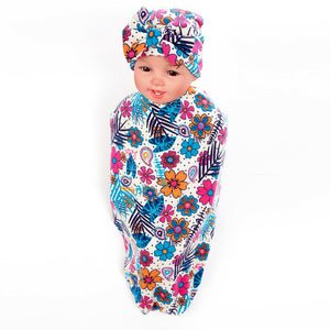 Newborn Baby Infant Flower Print Soft Cotton Swaddle Receiving Blanket + Hat Set - shopbabyitems