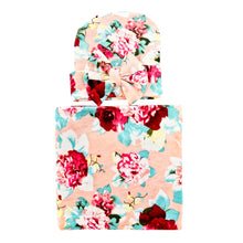 Load image into Gallery viewer, Newborn Baby Infant Flower Print Soft Cotton Swaddle Receiving Blanket + Hat Set - shopbabyitems