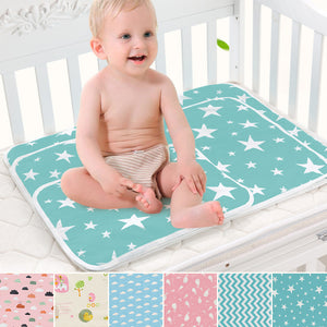 Lovely Cartoon Infant Baby Crib Changing Mat Cotton Waterproof Reusable Diaper - shopbabyitems
