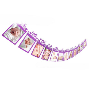 Baby Kids Birthday Gift Decoration 1-12 Month Picture Banner Monthly Photo Wall - shopbabyitems