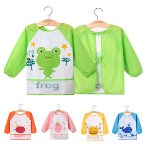 Kids Baby Toddler Waterproof Long Sleeve Bib Cartoon Pattern Feeding Smock Apron - shopbabyitems