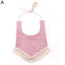 Load image into Gallery viewer, Baby Girls Boys Cotton Stripes Fruit Floral Tassels Halter Bib Triangle Towel - shopbabyitems