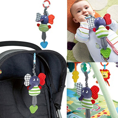 Kids Baby Infant Elephant Handbell Cute Rattle Bed Bell Stroller Toy Teether Gift - shopbabyitems