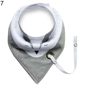 Baby Infant Toddler Soft Triangle Bandana Bib Saliva Towel with Pacifier Clip - shopbabyitems