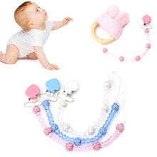 Load image into Gallery viewer, Faux Crystal Beads Heart Baby Teething Pacifier Clip Soother Nipple Chain Holder - shopbabyitems