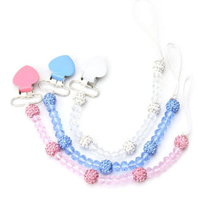 Faux Crystal Beads Heart Baby Teething Pacifier Clip Soother Nipple Chain Holder - shopbabyitems