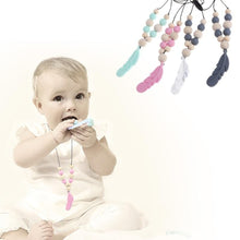 Load image into Gallery viewer, Baby Silicone Teether Feather Pendant Beads Teething Necklace Chain Chewing Toy - shopbabyitems