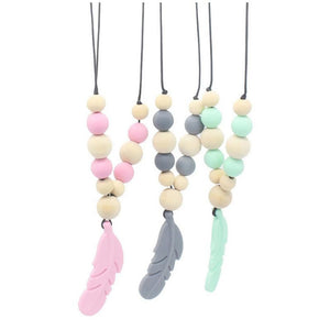 Baby Silicone Teether Feather Pendant Beads Teething Necklace Chain Chewing Toy - shopbabyitems