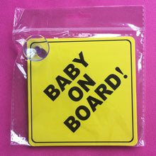 Load image into Gallery viewer, Car Vehicle Window Sucker Sticker Baby On Board Warning Safety Sign Decoration - shopbabyitems
