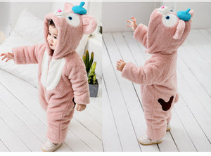 Winter Kids Cute cat Onesies Pajamas Costumes Jumpsuits Baby Creeping Suit Plus Velvet Coat thick warm 0-3Y PL-002 - shopbabyitems