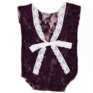 Newborn Baby Girls V-Neck Romper Backless Floral Lace Bow Sleeveless Bodysuit - shopbabyitems