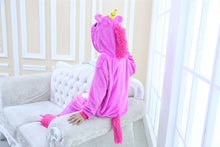 Load image into Gallery viewer, Flannel Children Pajamas Winter Hooded Animal rose red Unicorn Kids Pajamas For Boys Girls Sleepwear Onesies KD-040 - shopbabyitems