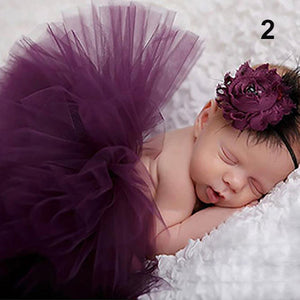 Newborn Toddler Baby Girl Tutu Skirt + Flower Headband Photo Prop Costume Outfit - shopbabyitems