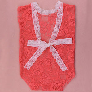 Fashion Lace Bowknot Newborn Baby Romper Photography Prop Overalls Clothing - shopbabyitems