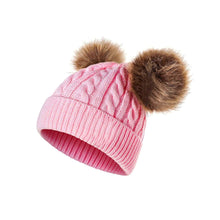 Load image into Gallery viewer, Winter Cute Baby Boy Girl Double Pompom Beanie Cap Toddler Warm Knitted Cap Hat - shopbabyitems