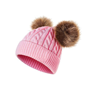 Winter Cute Baby Boy Girl Double Pompom Beanie Cap Toddler Warm Knitted Cap Hat - shopbabyitems